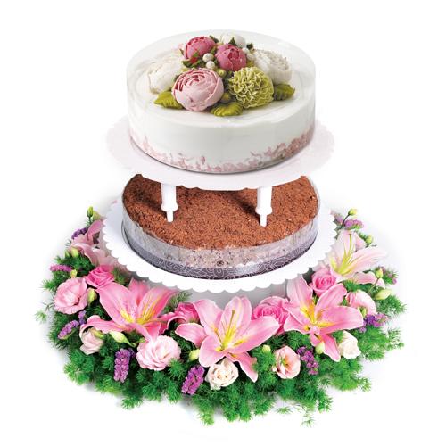 스탠드2단 케익+꽃 상품이미지