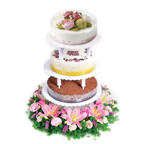 스탠드3단 케익+꽃 상품이미지